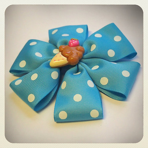 Kawaii Polka Dot Bow & Ice Cream Hair Clip - Aqua