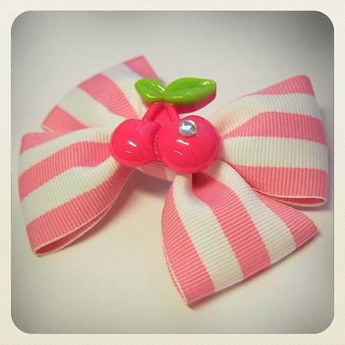 Kawaii Pink Striped Bow & Cherries