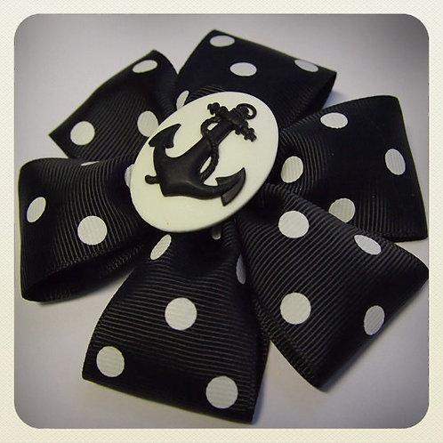 Pin-Up Black Polka Dot Bow & Anchor Cameo