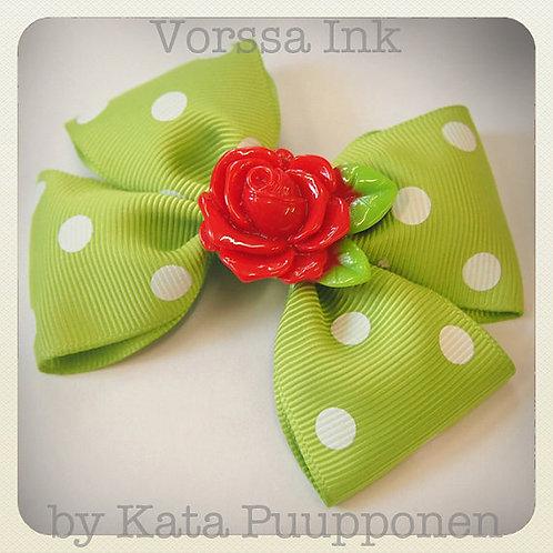 Vintage Lime & White Polka Dot Bow & Rose