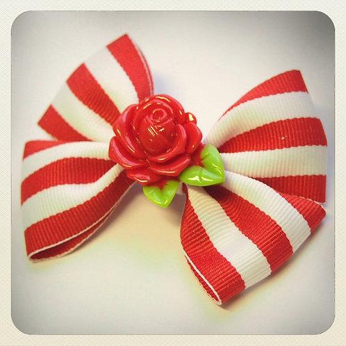 Vintage Candy Stripe Bow & Rose