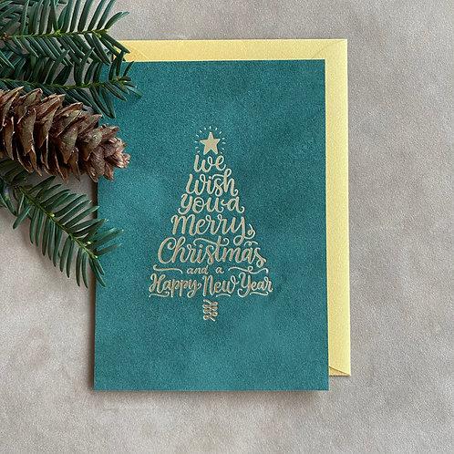 Velvet kerstkaart | We wish you a merry Christmas