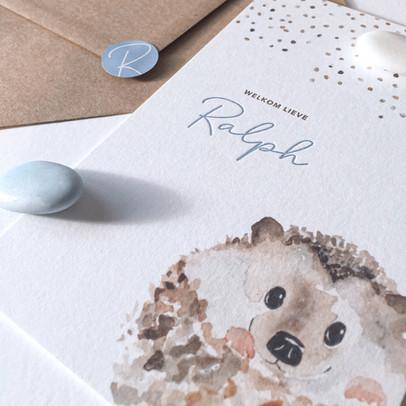 letterpress geboortekaartje van Ralph
