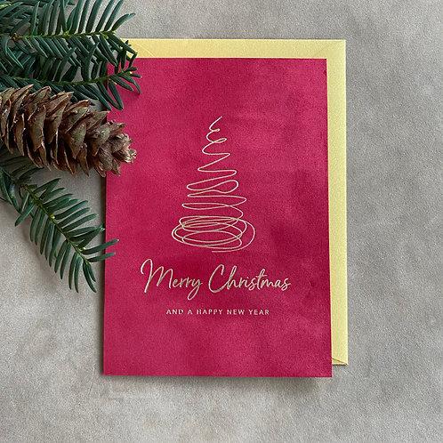 Velvet kerstkaart | Merry Christmas (spiraalboom)