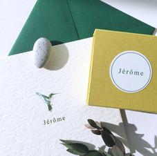 letterpress geboortekaartje Jerôme