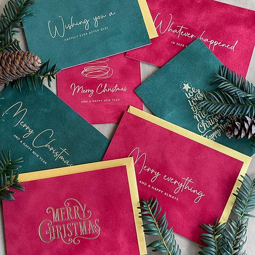 complete set van 7 velvet kerstkaarten