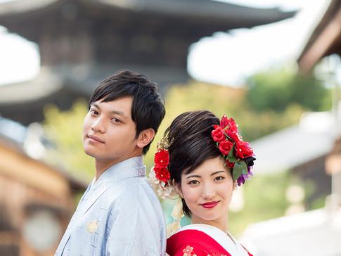 婚礼ロケフォト 祇園 + 八坂の塔