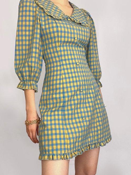Classic line Checkered Pattern Dress