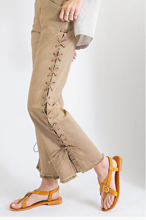 Trendy Laced Up Washed Twill Pants