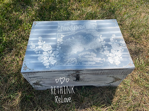 SOLD Cool old wooden treasure chest