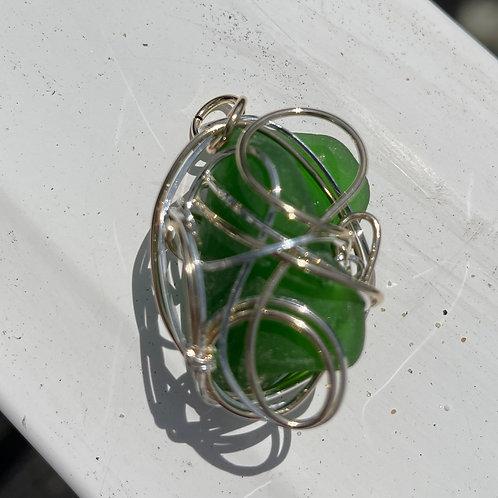 Gorgeous frosty green Chesapeake Bay sea glass pendant