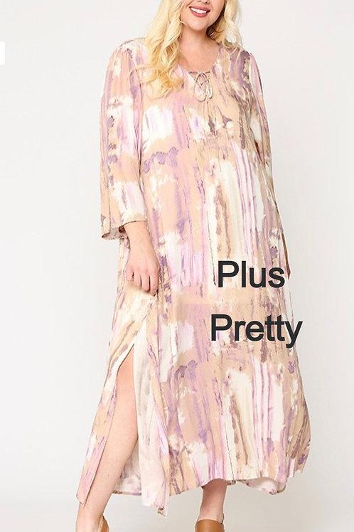 Plus Multi Colored Printed Maxi Dress