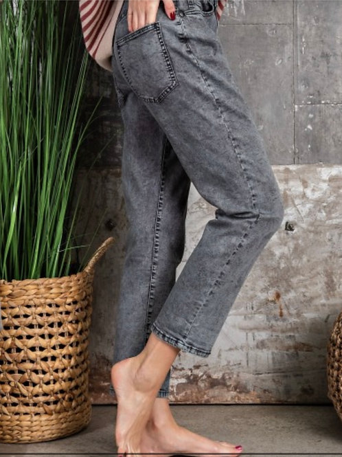 Twill Washed Pants - 4 pockets