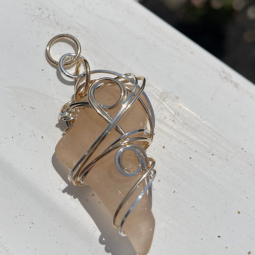 RARE Blush/Almost Peach Chesapeake Bay Seaglass Pendant