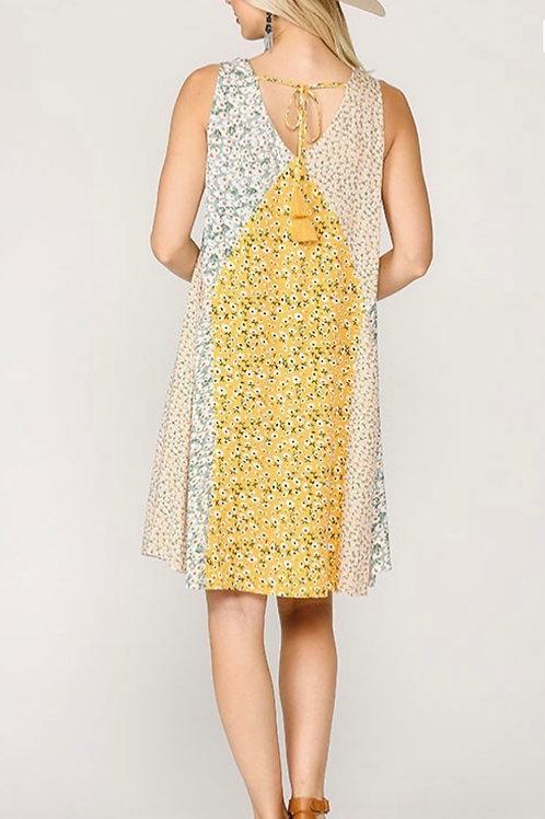 Cool Flowy Summer Sleeveless Dress - Golden Mix