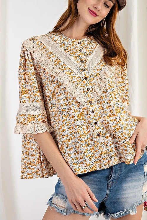Sweet Button Down Front Blouse