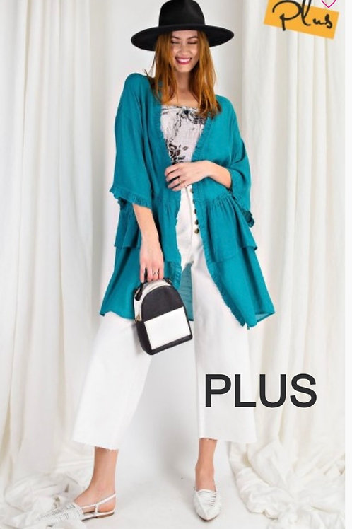 PLUS Exotic Turquoise Semi Sheer Ruffled Kimono