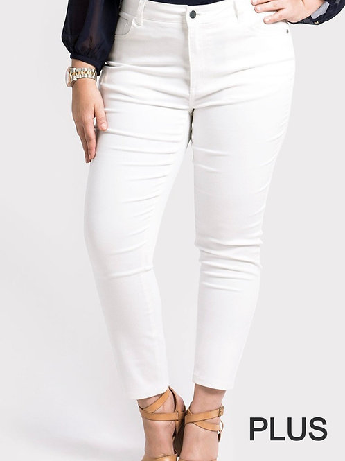 Comfy White Ankle Pant (PLUS)