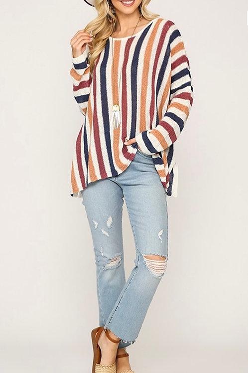 Multi Striped Doman Oversized Sweater Top - Denim Mauve
