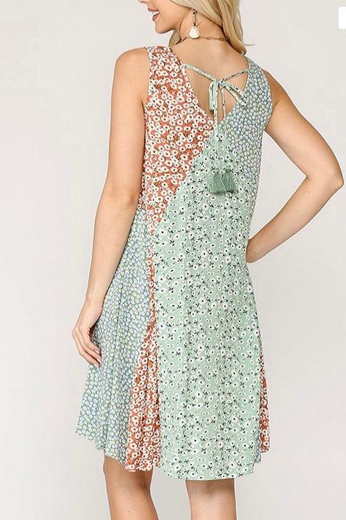 Cool Flowy Summer Sleeveless Dress -Lt Sage Mix