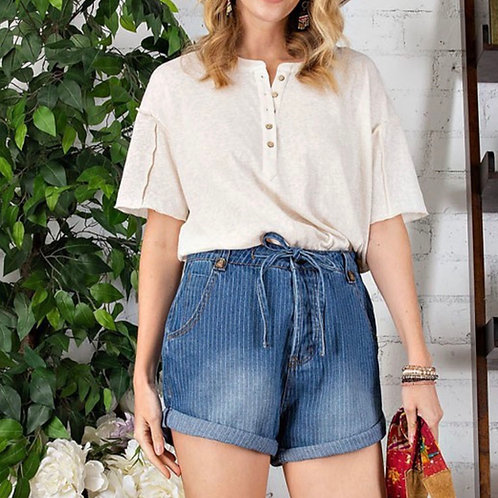 Washed Denim Shorts by Easel