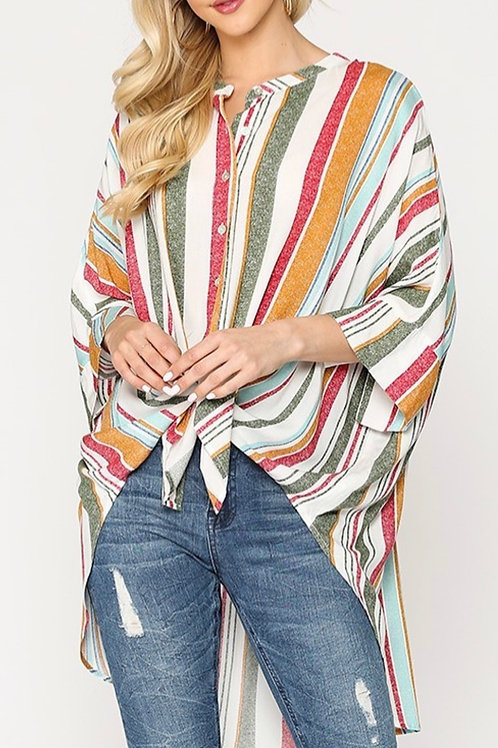 Loose Fit Button Down Tunic Top (hi-lo)