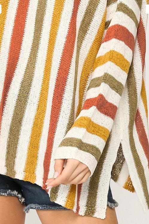 Multi Striped Doman Oversized Sweater Top - Sage/Mango