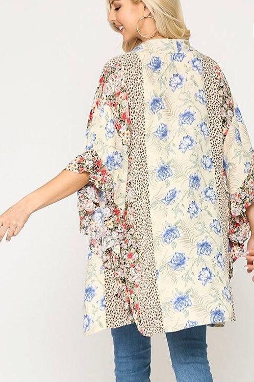 Creamy MultiFloral Ruffle Kimono