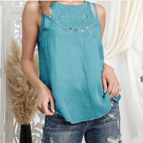 Embroidered Sleeveless Button Down Back Blouse