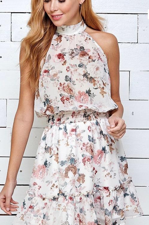 Sweet Summer Floral Print Halter Dress
