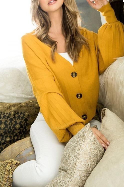Gorgeous Mustard Color Drop Shoulder Cardigan