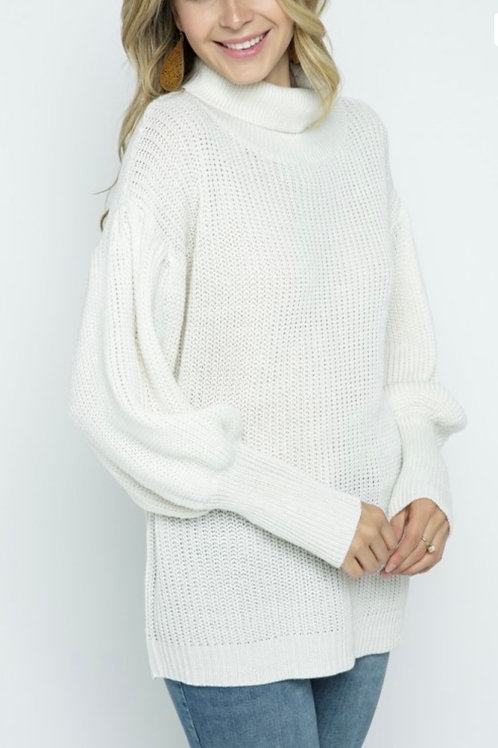 Puff Sleeve Cowl Neck Pullover