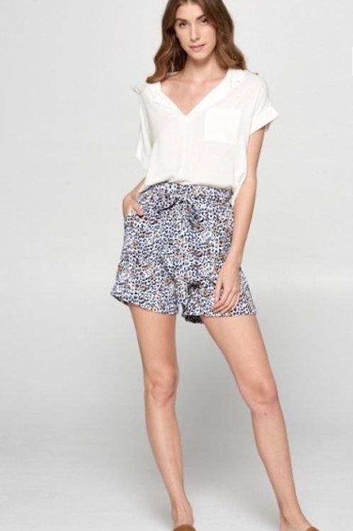 Navy Leopard Print Baggy Shorts