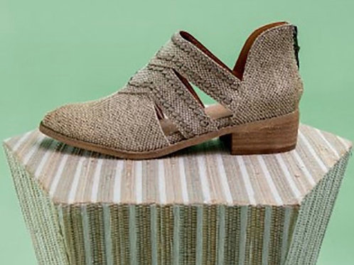 Fringed Canvas Western Bootie