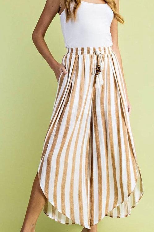 Striped Open Slit Resort Pants
