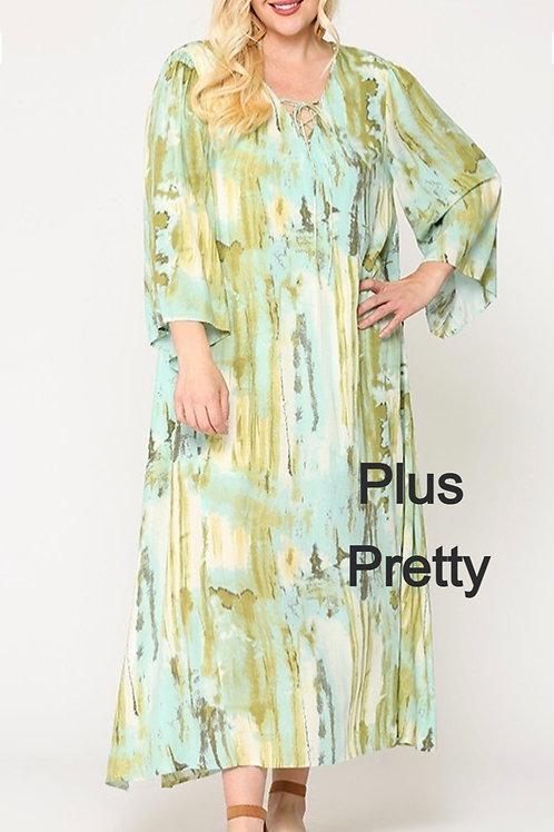 Plus Sage Mix Tie Dye Maxi Summer Dress