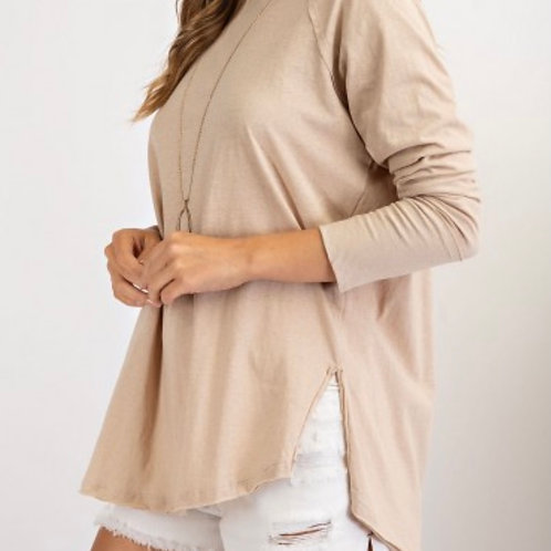 LS Cotton Jersey -- Loose Fit -- Taupe