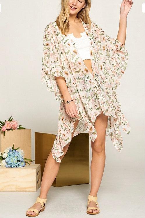 Ruffle Kimono with Tie Belt