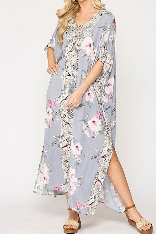 Mixed Creamy Floral Maxi Dress
