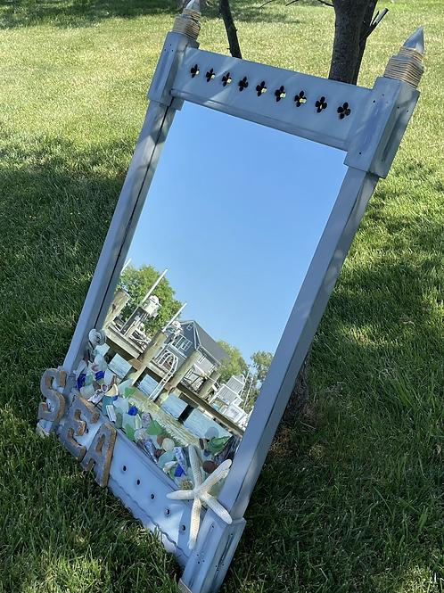 Upcycled vtg wood mirror Nautical