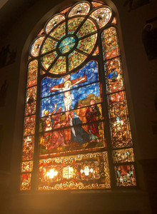 A beautiful stained glass window in the Notre Dame de Chicago.