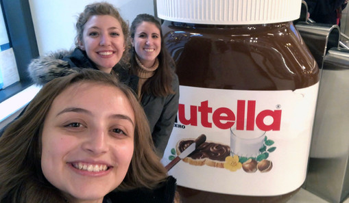 My roommates and I enjoying the tastes of the Nutella Cafe with other CS students.
