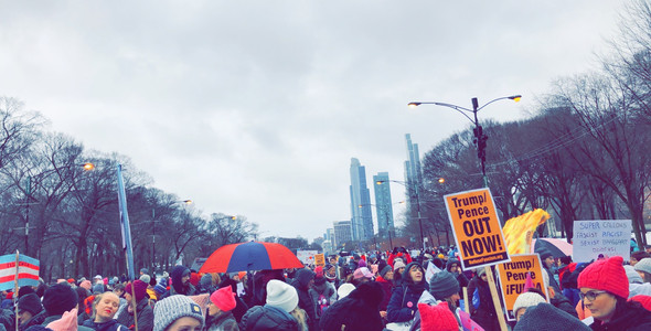 A view of the crowd gathered for the Women's March.