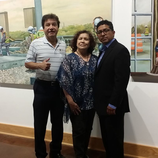 Friends at and exhibition