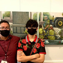 My son and me at We Are Human Exhibiton