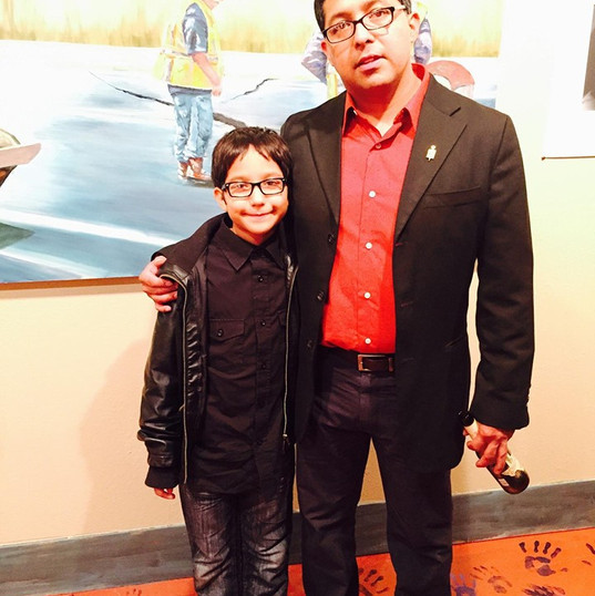 My son and me at an Exhibition