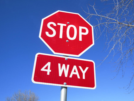 """""""Confused at Four-Way Stops Signs?"""" - by Rev. Weldon Bares"""