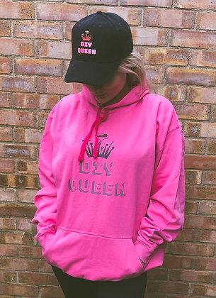 DIY Queen Pink Print Oversized Logo Hoodie