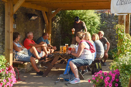 Beer garden at The Crispin, Great Longstone.