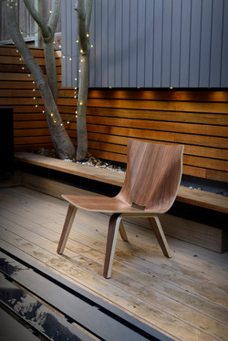 V Lounge Chair in walnut